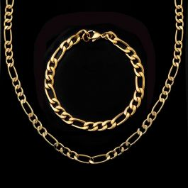 5mm Figaro Chain Set in Gold