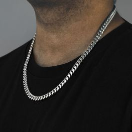 10mm 316L Stainless Steel Cuban Link Chain in White Gold
