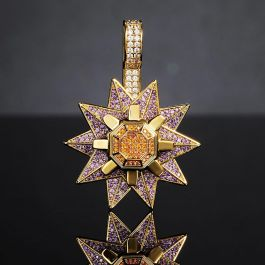 Iced Rotating Starfish Pendant in Gold
