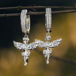 Iced Praying Angel Dangle Earrings in White Gold
