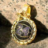 "Iced ""24"" Basketball Ouroboros Pendant in Gold"