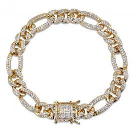 10mm 18K Gold Finish Iced Figaro Bracelet