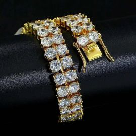 10mm 18K Yellow Gold Finish Double Row Tennis Bracelet