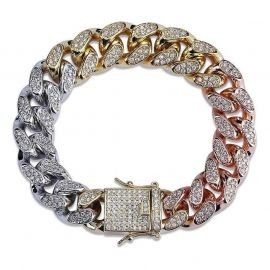 New 14mm Tri-Colored Iced Cuban Link Bracelet
