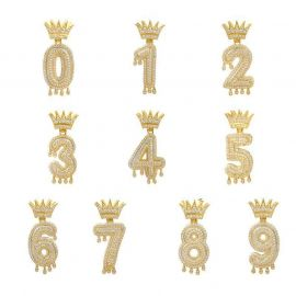 Iced Drip Numbers Pendant in Gold