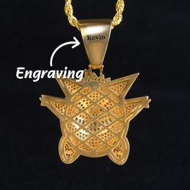 Big Iced Gengar Pendant in Gold Free Engraving