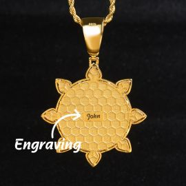 Sun and Moon Face Pendant in Gold