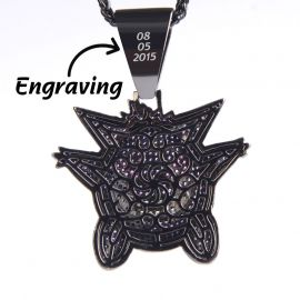 Big Purple Iced Gengar Pendant in Black Gold Free Engraving