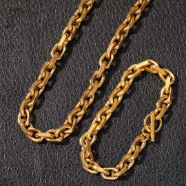 18K Gold 9mm O Word Link Chain Set