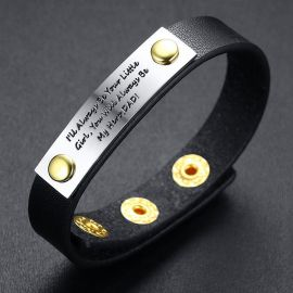 Adjustable Leather Wristband Bracelet with Steel Text Bar for Father's Gift