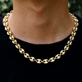"""7mm 22"""" Stainless Steel Coffee Bean Chain in Gold"""