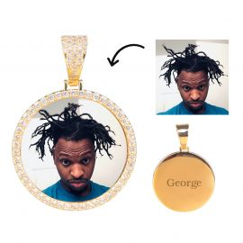 Iced Custom Circle Photo Pendant in Gold