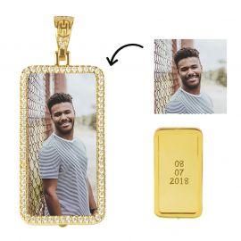 Custom Rectangle Photo Pendant in Gold