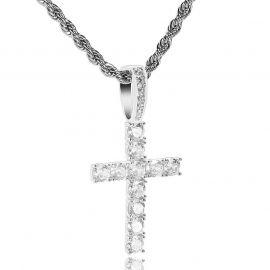 Brilliant Cut Cross Pendant in White Gold