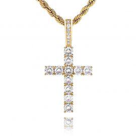 Brilliant Cut Cross Pendant in Gold