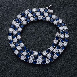 5mm White & Blue Iced Single Row Tennis Chain in White Gold