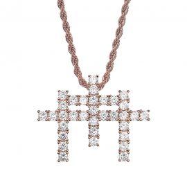Iced Triple Cross Pendant