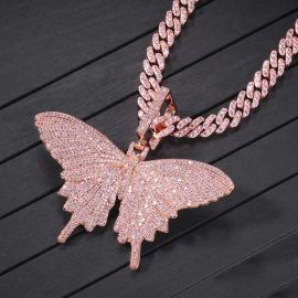 """Pink Butterfly Pendant with 8mm 20"""" Cuban Link Chain Set"""