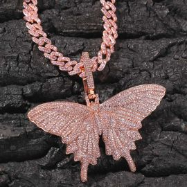Pink Butterfly Pendant with 8mm 20