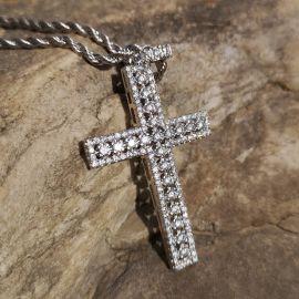 Diamonds Cross Pendant in White Gold