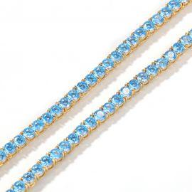 4mm Blue Tennis Chain in 18K Gold