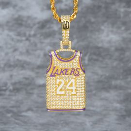 Iced 24 Jersey Pendant in Gold