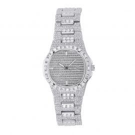 Iced Quartz Men's Fashion Watch in White Gold