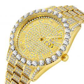 Iced Roman Numerals Men's Watch in Gold