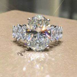 3.5 Ct Brilliant Oval Cut with Marquise Shape Side Stones Ring