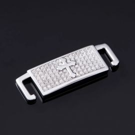 Iced Cross Lace Lock in White Gold-Pair