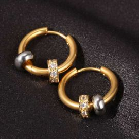 Men's Charm Beads Hoop Earrings in Gold