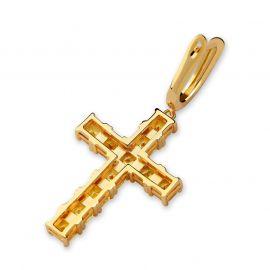 Fancy Yellow Diamonds Cross Earring in Gold