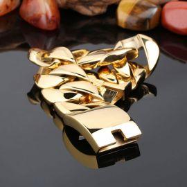32mm 316L Stainless Steel Cuban Bracelet in Gold