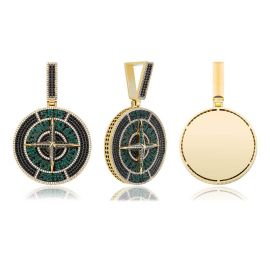 Iced Compass Pendant in Gold