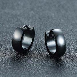 Stainless Steel Hoop Earrings in Black Gold