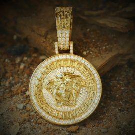 Iced Snake Hair Banshee Pendant in Gold