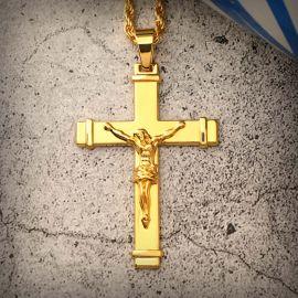 Jesus Crucifix Cross Pendant in Gold