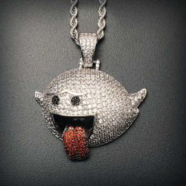 Flying Ghost Pendant in White Gold