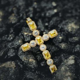 Fancy Yellow and White Diamonds Cross Pendant in Gold