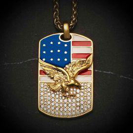 American Flag Eagle Diamonds Dog Tag Pendant