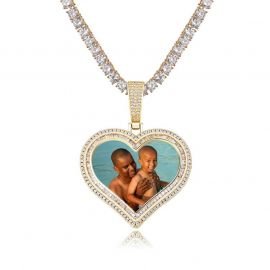 Custom Double Halo Heart Photo Pendant in Gold