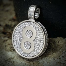 Iced Double Side Memorial Pendant