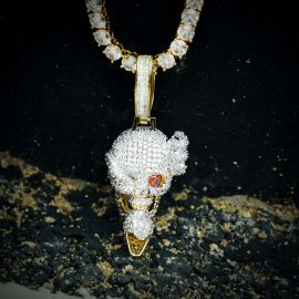 Iced Skull and Snake Pendant