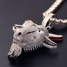 Iced GOAT Head Pendant in White Gold