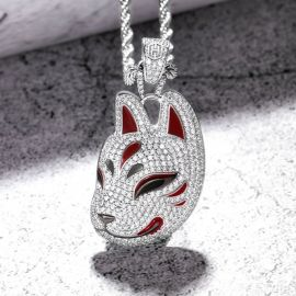 Iced Fox Pendant in White Gold