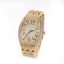Iced Large Dial Tonneau-shaped Curved Wristwatch in Gold