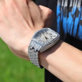 Iced Large Dial Tonneau-shaped Curved Wristwatch in White Gold