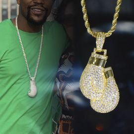 Iced Boxing Gloves Pendant in Gold