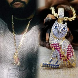 Iced  Multi-color OwlPendant in Gold