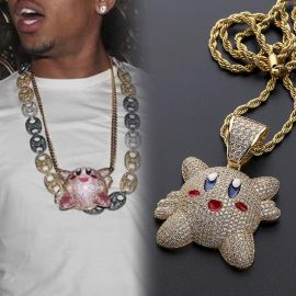 Iced Kirby Pendant in Gold